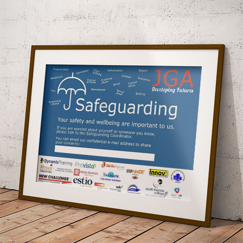 Safeguarding poster in a frame